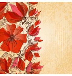 Vintage floral background cardboard texture vector