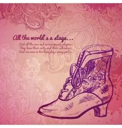 Vintage girl boot fashion banner vector image