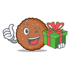 With gift chocolate biscuit mascot cartoon vector