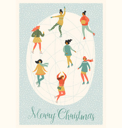 women skate christmas and vector image