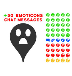 Wonder smiley map marker icon with bonus emoticon vector