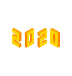yellow 2020 numbers isometric object vector image