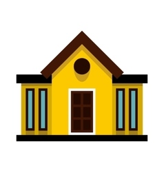 Yellow cottage with narrow windows icon flat style vector image