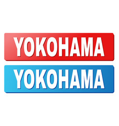 Yokohama title on blue and red rectangle buttons vector