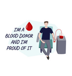 Young man gives blood medical vector