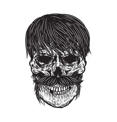 Zombie skull isolated on white background design vector