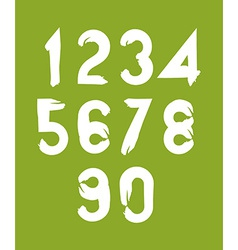 Handwritten white numbers on green backdrop vector image vector image