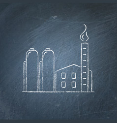 natural gas plant icon chalkboard sketch vector image