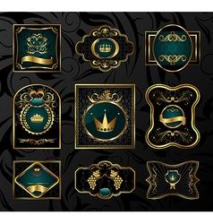 set black gold-framed labels - vector image