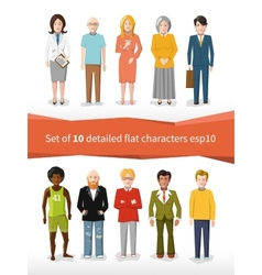set of 10 detailed flat characters on white vector image