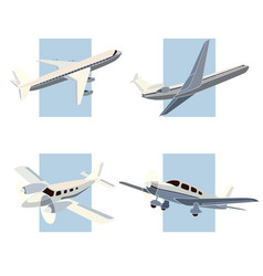set of simple icon of aircrafts vector image