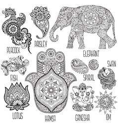 set of symbols used in mihendi vector image vector image