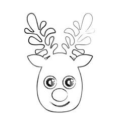 silhouette blurred cute face reindeer animal vector image