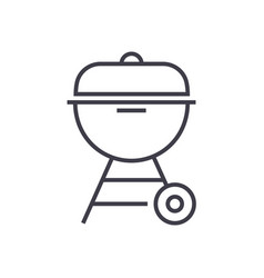 charcoal grill line icon sig vector image vector image