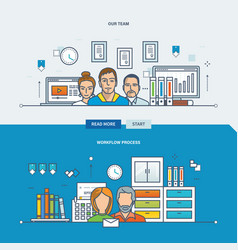 concept of our team workflow process teamwork vector image