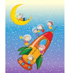 kids on moon and spaceship vector image vector image