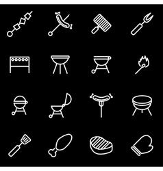 line barbecue icon set vector image vector image