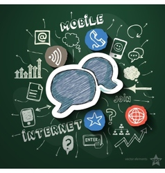 Mobile internet collage with icons on blackboard vector image