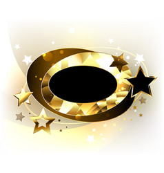 oval polygonal banner with stars vector image vector image