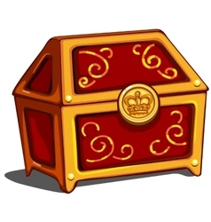 Red closed treasure chest with royal golden seal vector image vector image