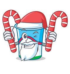 Santa with candy yogurt mascot cartoon style vector