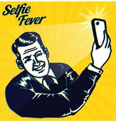 Vintage man taking selfie with smartphone camera vector image vector image