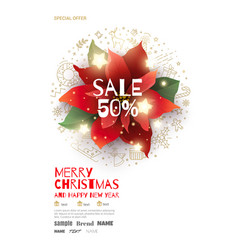 christmas sale poster with red poinsettia vector image vector image