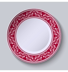 Decorative plate with floral painting on the edge vector
