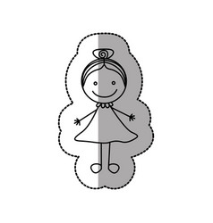 figure happy girl with bow in the head icon vector image