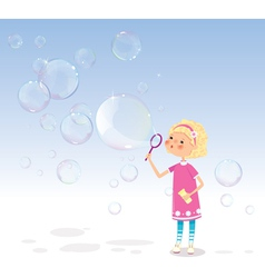 Girl with soap bubbles vector image vector image