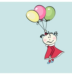 little girl flying with the balloons vector image