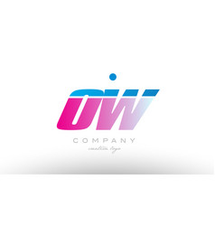 ow o w alphabet letter combination pink blue bold vector image