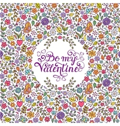 Valentines card with heartsbutterfliesflowers vector image vector image