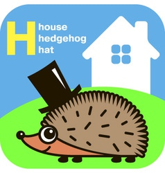 ABC house hedgehog hat vector image
