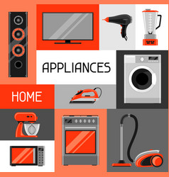 background with home appliances household items vector image vector image