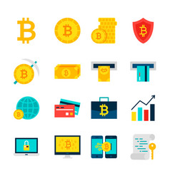 Bitcoin currency objects vector
