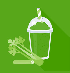 celery smoothie or juice in plastic glass vector image