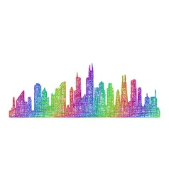 Chicago skyline silhouette - multicolor line art vector image vector image