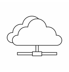 Cloud network connection icon outline style vector image