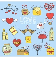 I love you doodle icon set isolated vector image vector image