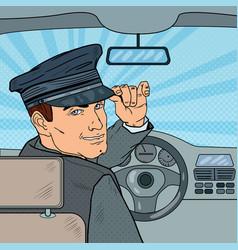 limousine driver inside a car pop art vector image