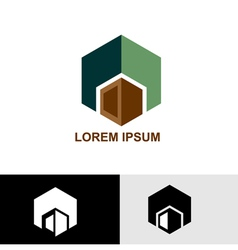 Logo green and brown cube vector image vector image