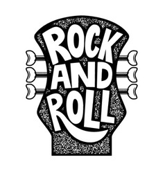 Rock and roll hand drawn phrase on guitar neck vector
