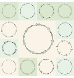 Set of hand-drawn flourish circle and frames in vector image vector image