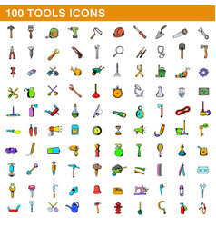 100 tools icons set cartoon style vector