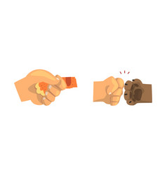 Animal paw and human hand gesturing shaking hands vector