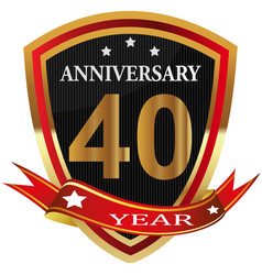 anniversary 40 th label with ribbon vector image