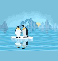 Antarctica penguins on ice floe in the sea vector