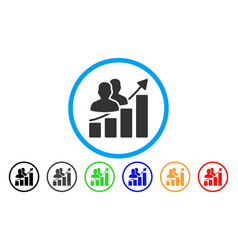 Audience growth bar chart rounded icon vector