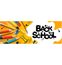 back to school sale horizontal banner first day vector image